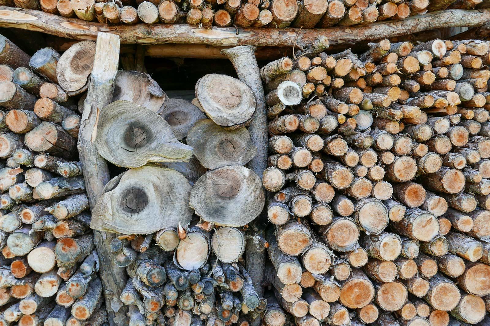 Holzstapel in den Bergen